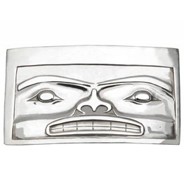 Casted Silver Chilkat Belt Buckle by Alano Edzerza (Tahltan).