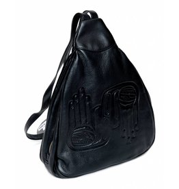 Embossed Leather Triangle Bag,  Welcoming Hands by Dorothy Grant