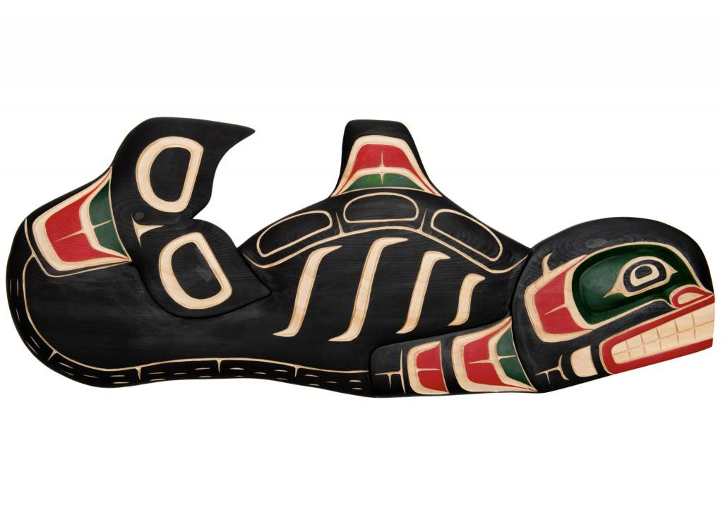 Painted Orca Carving by Will Wadhams