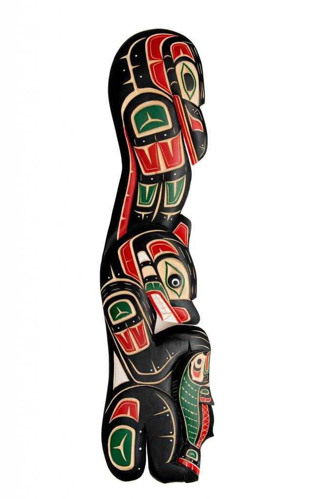 Raven,Bear and Salmon Totem Plaque by Lawrence Scow