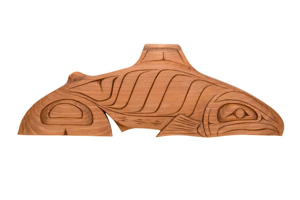 Stained Cedar Salmon Carving by Jay Coutts