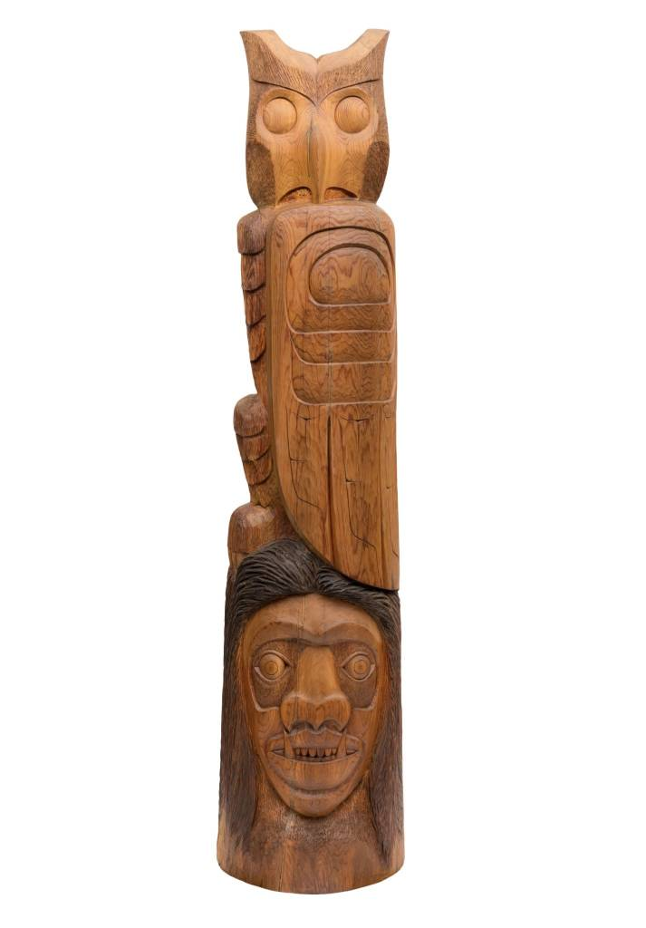 7' Owl / Wild Man Totem Pole by Jay Coutts