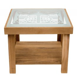 Cedar Table with Eagle Design on Glass Top