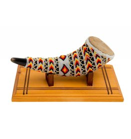 Beaded Buffalo Horn Rattle