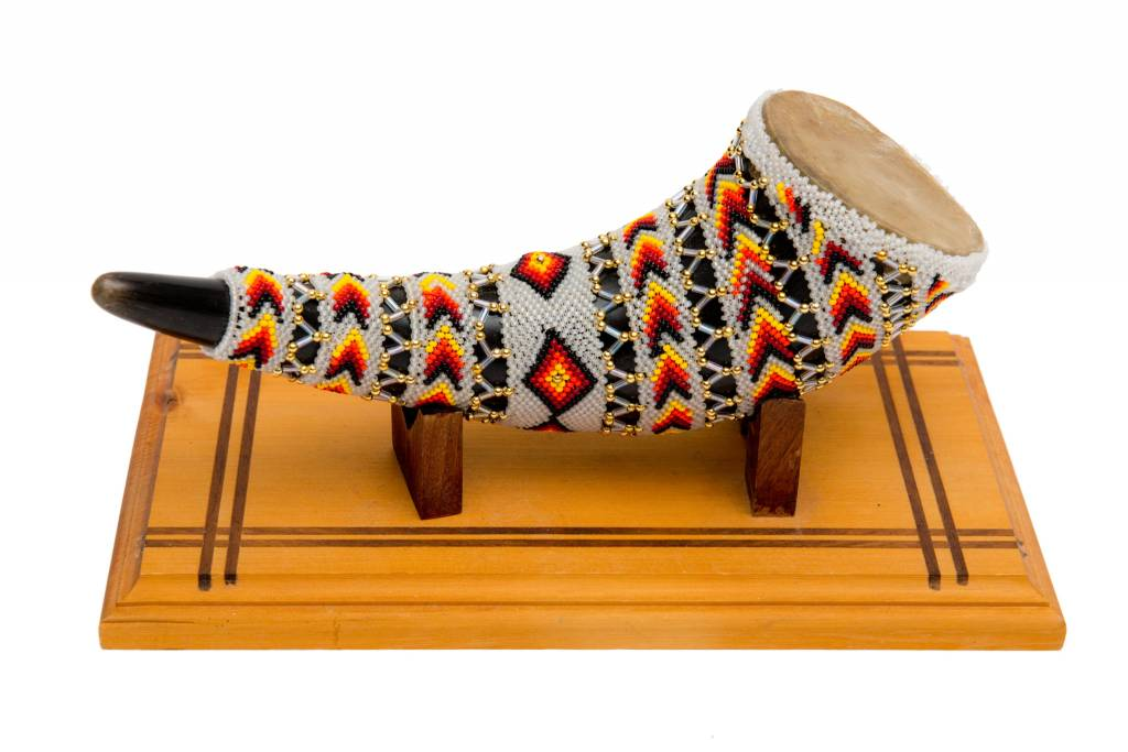 Beaded Buffalo Horn Rattle