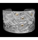 "2 1/4"" Silver Bracelet with Gold Eyes- Animal Kingdom by Richie Baker"