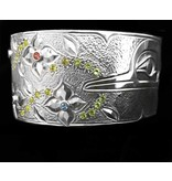 "1 1/8"" Silver Hummingbird Bracelet with Stones by Matilpi Designs"