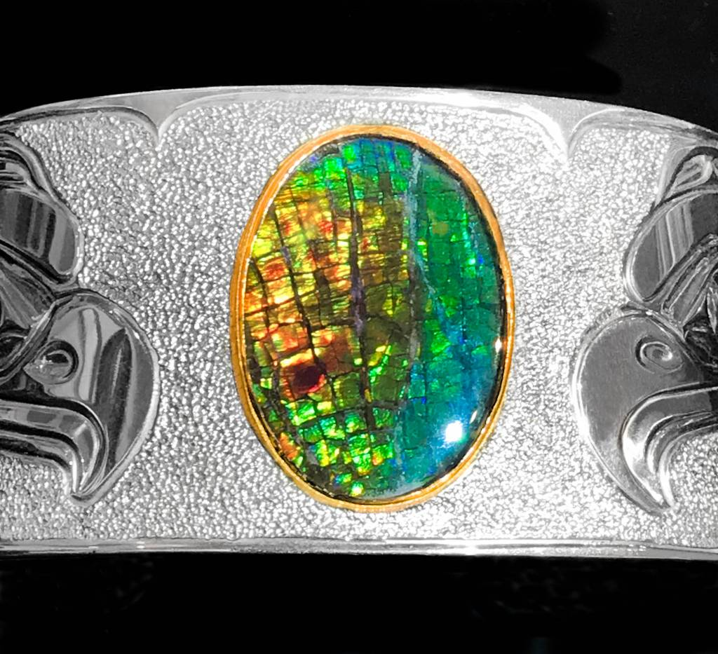 "1 1/4"" Eagle Silver and Ammolite Bracelet by Matilpi Designs."