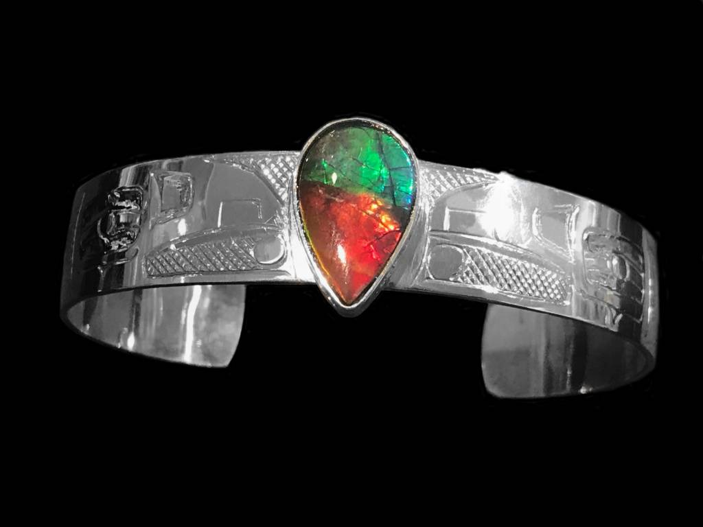 """1/2"""" Silver and AA Iniskim Bracelets by Terrence Campbell"""