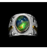 Silver, Gold and Ammolite Hummingbird Ring