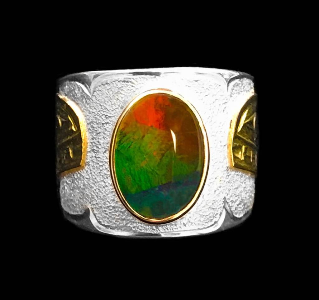 Gold, Silver and AAA Ammolite Orca Ring
