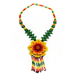 Huichol 3d Beaded Peyote Flower Necklace