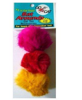 GO CAT FEATHER TOYS Go Cat Bat Around 3 PK