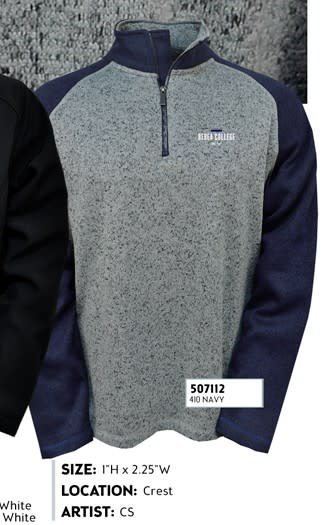 Artisans Pullover, Gray with Blue Sleeves, Mens, 1/4 Zip, Berea College, KY