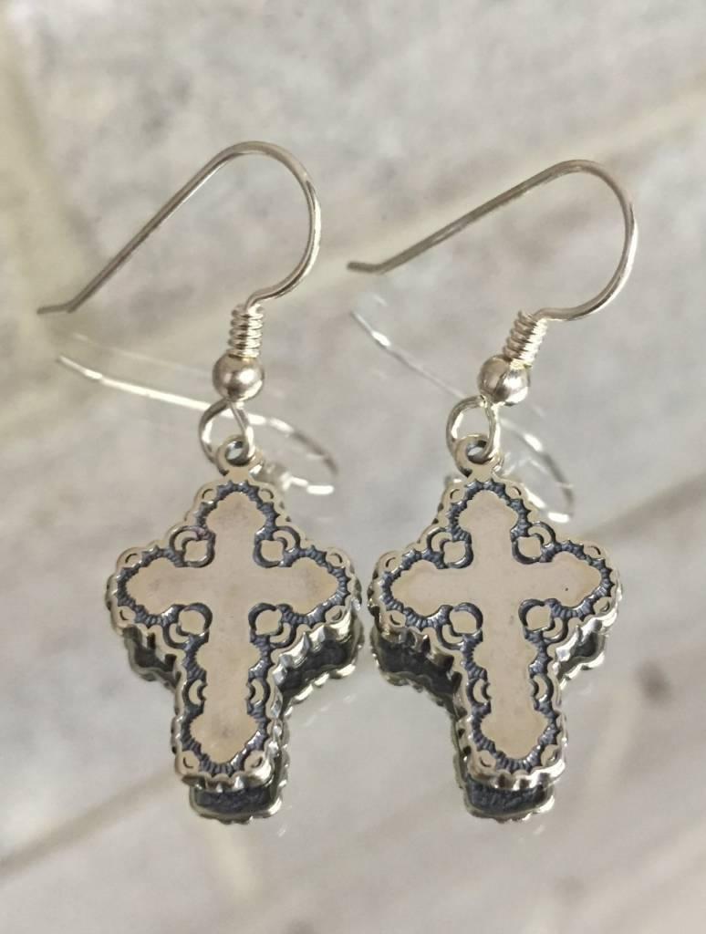 Ag1021er Inheritance Cross Tiny Dangle Earrings Ss