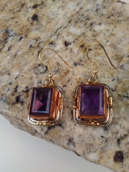 Square Faceted Amethyst Earrings