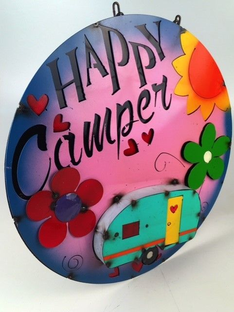 Happy Camper Colorful Iron Sign