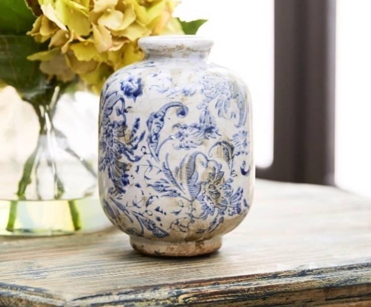 Blue And White Terra Cotta Vases Wow Warehouse