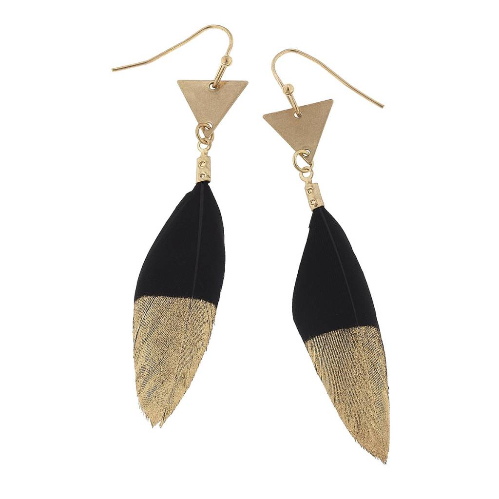 Gold Dipped Black Feather Earrings