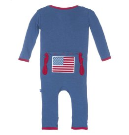 Kickee Pants Fitted Applique Coverall (Twilight American Flag)