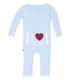 Kickee Pants I Love Mom Coverall Pond