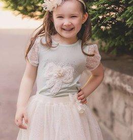 MaeLi Rose Ivory Silver Sparkle Skirt