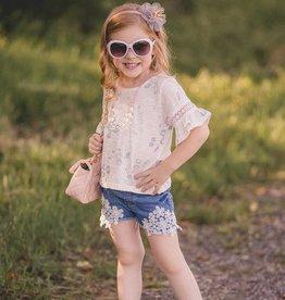 MaeLi Rose Denim Floral Crochet Shorts