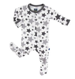 Kickee Pants Essentials Print Footie (Feather/Rain Stars - 0-3 Months)