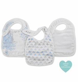 Aden & Anais Metallic Blue Moon Birch 3-Pack Bamboo Snap Bibs