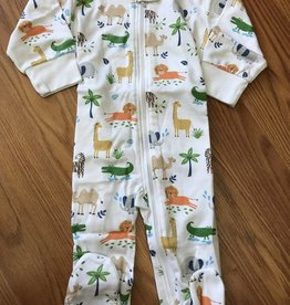 Kissy Kissy Jungle Jaunt Print Footie w/ Zipper