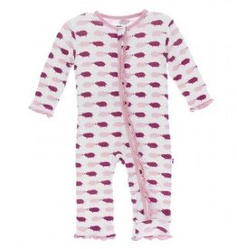 Kickee Pants Natural Pig Muffin Ruffle Footie with Zipper