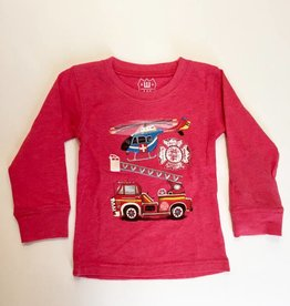 Wes And Willy Fire Truck & Helicopter LS Tee Cherry