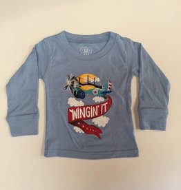 Wes And Willy Wingin It LS Tee NC Blue