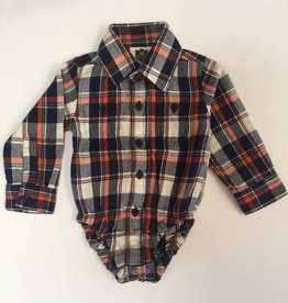 Wes And Willy Plaid Onesie F17 Orange Crush