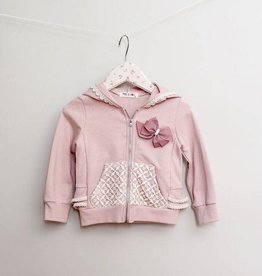 MaeLi Rose Lace & Ruffle Zip Up Rosy Lavender