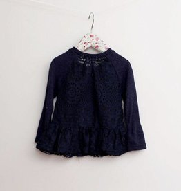 MaeLi Rose Lace Back Cardigan & Tank Navy