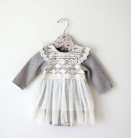 MaeLi Rose Lace Pattern Onesie Gray