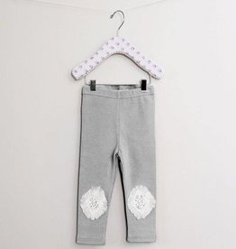 MaeLi Rose Tulle Knee Patch Legging Gray