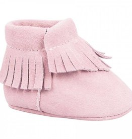 Trimfoot Co. Pink Suede Moccasins Fringe Trim