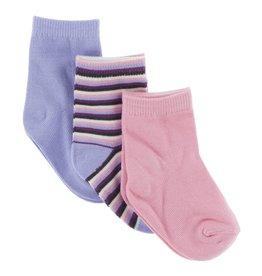 Kickee Pants Lilac, Girl Anniversary Stripe & Lotus Sock Set