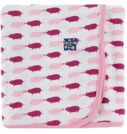 Kickee Pants Print Swaddling Blanket (Natural Pig - One Size)