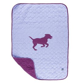 Kickee Pants Quilted Stroller Blanket with Applique (Lilac Running Labs - One Size)