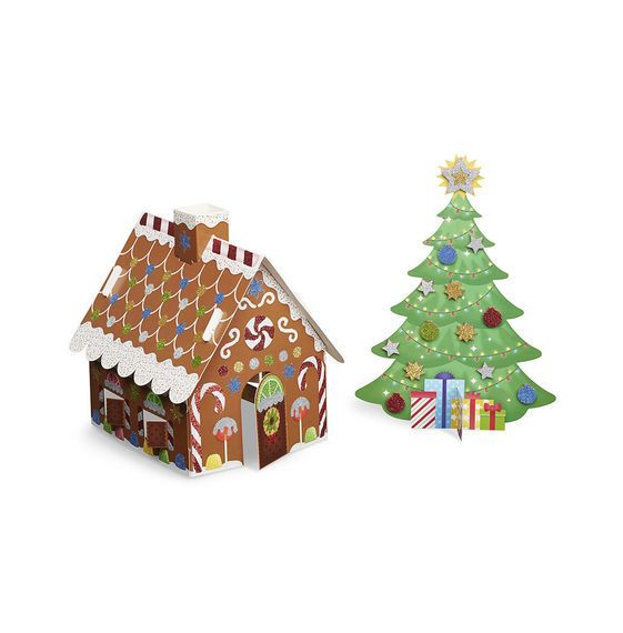 melissa doug mess free glitter xmas tree and gingerbread house - Glitter Christmas Tree