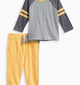 Splendid LS Football Tee Set Charcoal Grey Heather