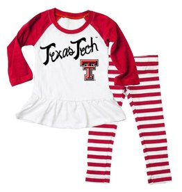 Wes And Willy Texas Tech Girl Slub Raglan Set Cherry