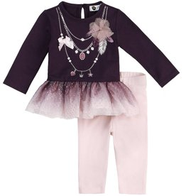 Petit Lem Periwinkle Twinkle Purple Necklace Top & Pant Set