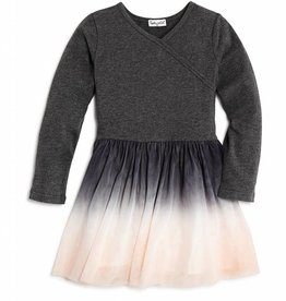 Splendid Dark Grey LS Sweater Dipdyed Tulle Dress