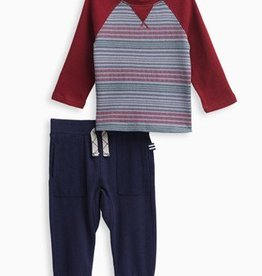 Splendid Burgundy Stripe Raglan Pant Set