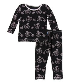 Kickee Pants Print Long Sleeve Pajama Set (Girl Midnight Bikes)