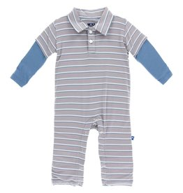 Kickee Pants Print LS Double Layer Polo Romper (Boy Parisian Stripe)